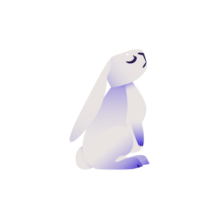 Cute rabbit with ultra violet ears and legs sits with close eyes dreaming or sniffing isolated on white background - cartoon cute dreamlike colorful fluffy bunny character in vector illustration. Illustration