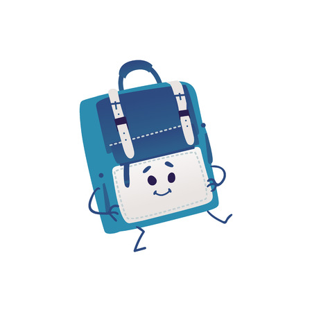 Cute backpack cartoon character dancing isolated on white background - funny school bag personage with smiling face for back to school concept in vector illustration.