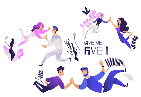 Give me five gesture set - various pairs of people giving each other high five. Isolated cartoon characters joining together their hand palms in trendy gradient vector illustration.