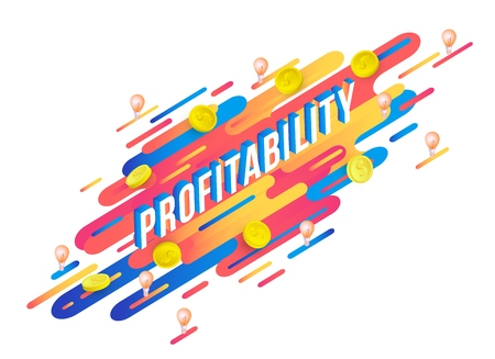 Profitability isometric word design with volumetric letters and dollar coins on modern abstract gradient background with geometric fluid color shapes and stripes, isolated vector illustration.