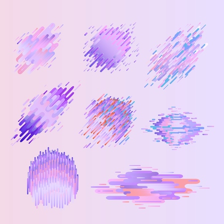 Glitched geometric colorful badges set with distortion effect in trendy ultra violet color - modern effect of digital decay with abstract shapes. Vector illustration of signal bug.