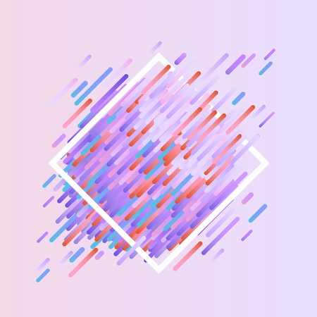 Glitched geometric colorful banner with distortion effect in trendy ultra violet color with rhombus frame - modern effect of digital decay with abstract shapes. Vector illustration of signal bug.