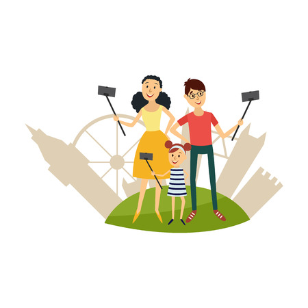 Cheerful family characters making selfie by stick or monopod from smartphone smiling on background of sightseeing of london - tower, wheel. Selfie on vacation concept. Vector illustration