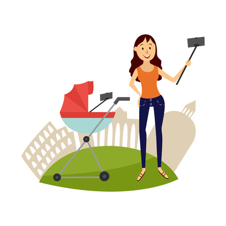 Cheerful family character - mother with infant baby in pram making selfie by stick or monopod from smartphone smiling on background of sightseeing. Selfie on vacation concept. Vector illustration
