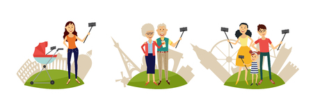 People making selfie with smartphone and monopod on sights background set. Isolated vector illustration of flat cartoon family members taking selfie with mobile phone and stick. Illustration