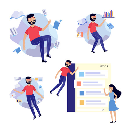 People in information surroundings set - smiling flat cartoon male and female characters flying in environment of information sources and messages. Isolated vector illustration.