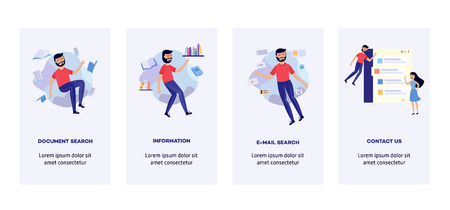 People in information surroundings banners set - smiling flat cartoon male and female characters flying in environment of information sources and messages, vector illustration.