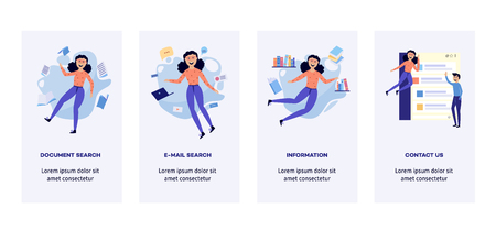 Woman in information surroundings banners set - smiling flat cartoon characters flying in environment of information sources, documents and messages. Vector illustration.