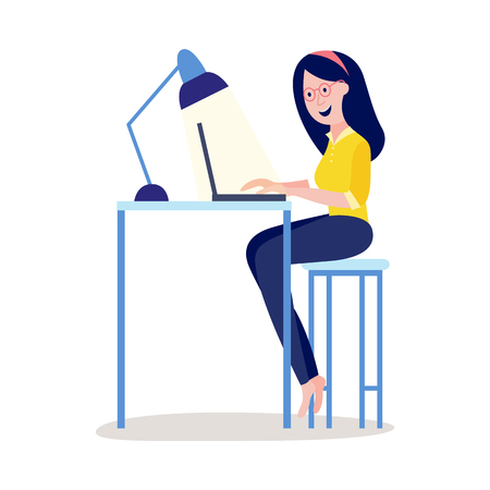 Online distant education concept with young woman, female student character sitting at desk typing on laptop, reading or doing research smiling. Vector cartoon illustration