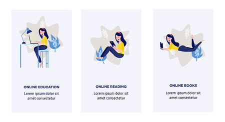 Online distant education concept poster set with young girl student sitting at desk typing on laptop, holding diploma on blue background abstract shapes, leaves space text. Vector cartoon illustration