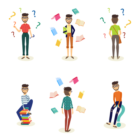 Young male characters in doubts, choosing and making decisions and students with books around set. Men in casual clothing, glasses standing, sitting with happy and sad faces. Vector illustration Illustration