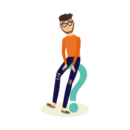 Young man in casual clothing, glasses sitting at big green question with sad unhappy facial expression. Isolated vector illustration, white background Ilustração