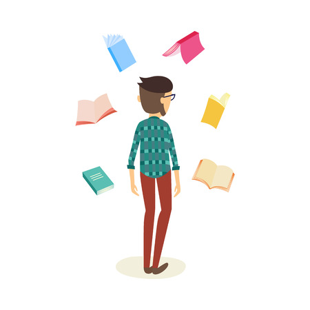 Cheerful student caucasian man standing back to the camera in casual clothing with textbooks flying around. Male character and education, university, college concept. Vector isolated illustration