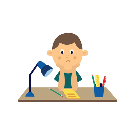 Flat sad boy kid studying sitting at table with pencils and notebook and lamp at desk. Unhappy teen male child student. School education concept. Vector illustration