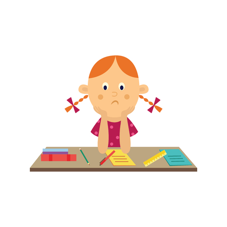 Flat sad girl kid studying sitting at table holding textbook with pencils and notebook at desk. Unhappy teen female child student. School education concept. Vector illustration