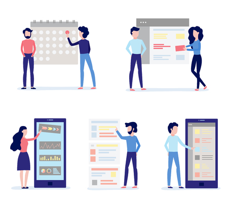 Using and customizing application set. Mobile app with user-friendly interface concept - people performing custom settings, isolated flat vector illustration. Stock Illustratie