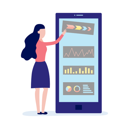 Flat female character standing near virtual application window with graphs charts and diagrams. Mobile apps and modern communication marketing technologies concept. Vector illustration Illustration