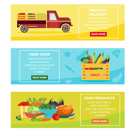 Farm products delivery posters, banners set. Farmer truck vehicle with vegetables transporting goods, wooden box with food and served saucers with prepared home meals. Vector illustration Illustration