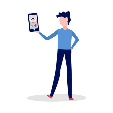 Concetto di videochiamata. Personaggio piatto maschile che chiama utilizzando il suo tablet PC presentandosi dalla fotocamera. Moderne tecnologie digitali e comunicazione online su Internet. Illustrazione vettoriale