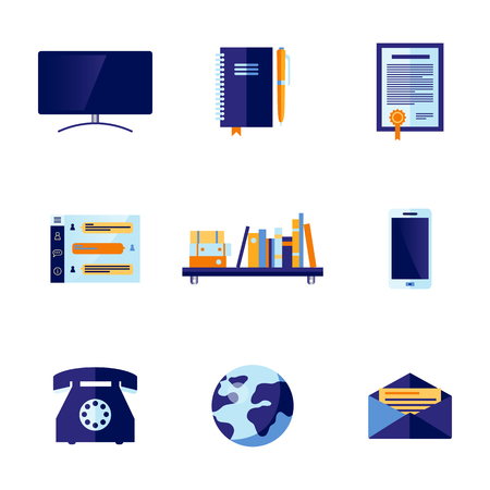 Office communication and technologies related icons set. Blue vintage dial rotary phone, flatscreen tv set, mail envelope, bookshelf amrtphone and earth planet symbol. Vector flat illustration. Illusztráció