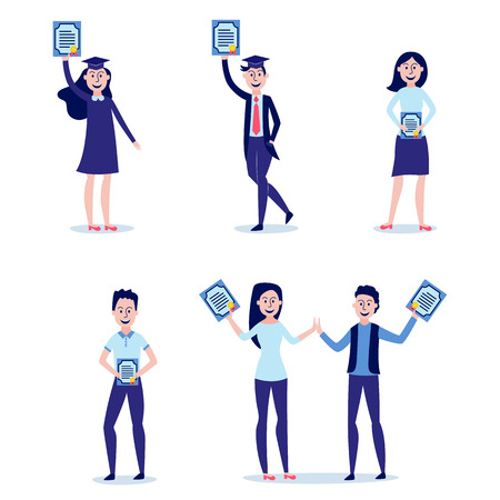Students graduating from university with diplomas in their hands set - happy and smiling young boys and girls holding certificates of completion of school, isolated flat vector illustration.