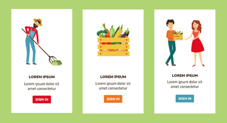Farm products live circle concept banners set. Vegetables are collected by farmer and gathered into wooden box delivered by delivery man to a woman. Vector illustration Иллюстрация