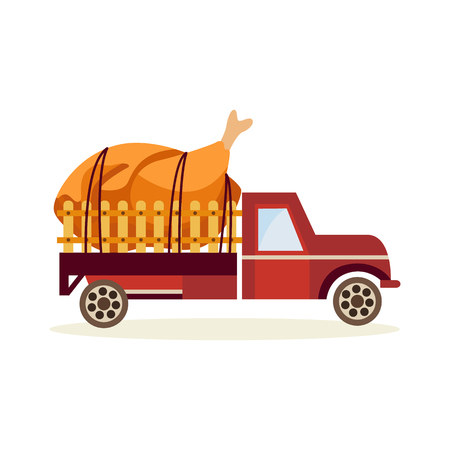 Farming and agriculture theme with large prepared chicken in back of truck car isolated on white background - delivery of fresh organic products concept in flat cartoon vector illustration.