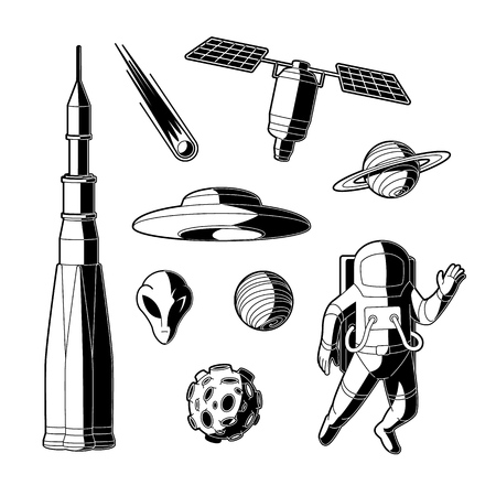 Space, cosmos objects silhouette icon set. Planet with ring, craters, comet, satellite asteroid or meteor spaceman, suit, rocket, spacecraft, alien flying saucer. Astronomy galaxy exploration vector