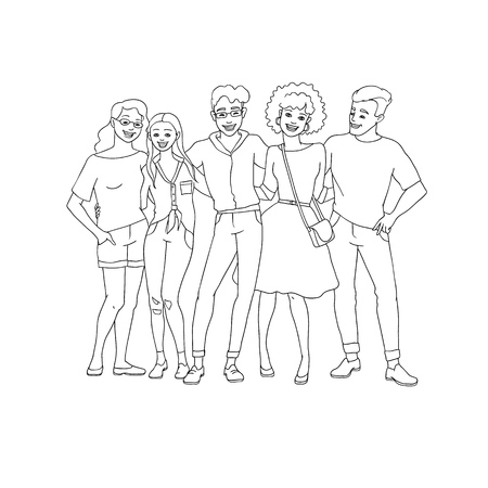 Diversity group of people hugs - hand drawn line young team stay together with happy smiles isolated on white background. Vector illustration of friendship and partnership concept in sketch style.