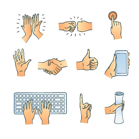 Hands gesturing set. Fists smashing, hand with index finger pressing button thumbs up, attention symbol, applausing and handshaking. Hands typing, holding phone and scroll. Vector illustration