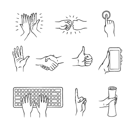 Hands gesturing set. Fists smashing, hand with index finger pressing button thumbs up, attention symbol, applausing handshaking. Hands typing, holding phone and scroll. Vector monochrome illustration