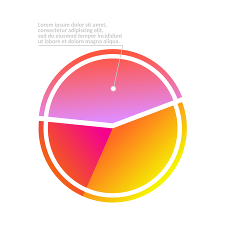 Business pie chart infographic with tree shares for reports and presentations isolated on white background. Percentage colorful circle diagram for statistics design in vector illustration. Çizim