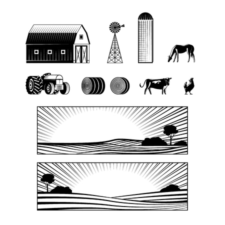 Farming and countryside set with farmland landscapes and various rural stuff and animals monochrome silhouette isolated on white background - vector illustration of agricultural equipment.
