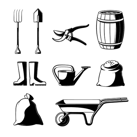 Farming and gardening tools set isolated on white background - various countryside stuff for agricultural works in vector illustration. Rural equipment black and white objects.