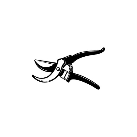 Hand pruners - gardening and farming tool for pruning branches of trees and shrubs isolated on white background. Secateurs monochrome silhouette in vector illustration.