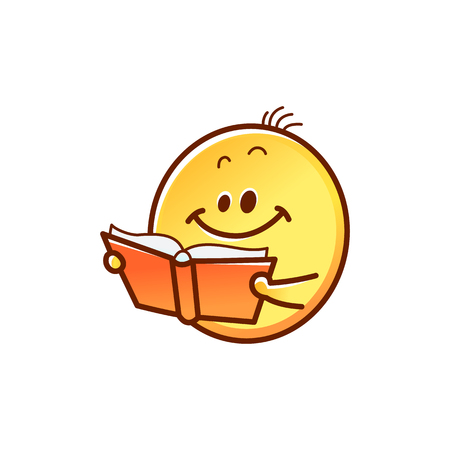 Smiley face reading book - cute smiling yellow emoticon ball with opened red book isolated on white background. Back to school cartoon emoji student in vector illustration. Illustration