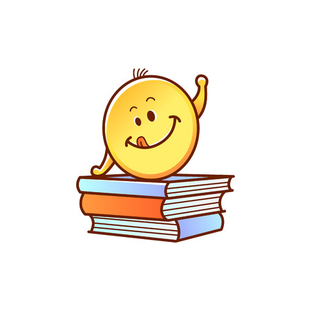 Smiley schoolchild on pile of books pulling hand up isolated on white background. Back to school concept with cute student emoji learns and studies, cartoon vector illustration. Stock Vector - 103238278