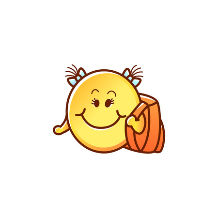 Smiley face student with backpack - cute happy yellow emoticon girl with hair bunches and school bag isolated on white background. Back to school cartoon emoji in vector illustration.