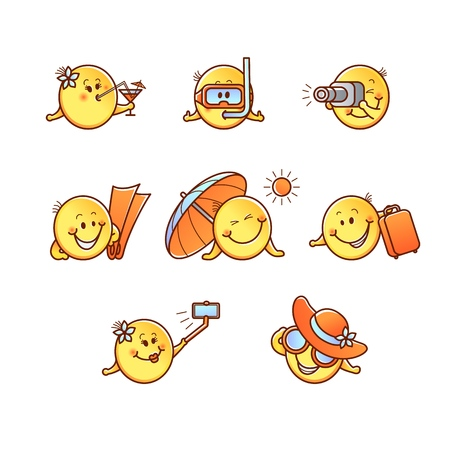 Summer beach vacation smiley set - emoticons with various face emotions and resort accessories isolated on white background. Emoji collection during rest in cartoon vector illustration.