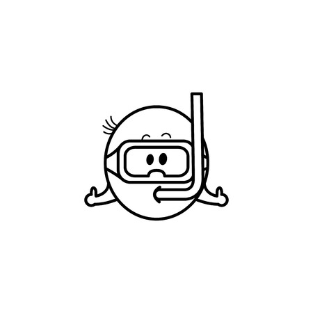 Smiley emoticon in scuba mask during summer vacation isolated on white background - cute smiling happy emoji ball with diving equipment in line vector illustration.  イラスト・ベクター素材