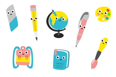Cartoon cute school supplies characters set. Funny objects for education - textbook, pen and pencil with eraser, for art - brush with palette and schoolbag. Back to school design. Vector illustration Standard-Bild - 103238315