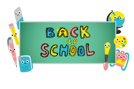 Back to school poster with cute school supplies characters on chalkboard. Funny objects for education - textbook, pen and pencil with eraser, for art brush with palette schoolbag. Vector illustration