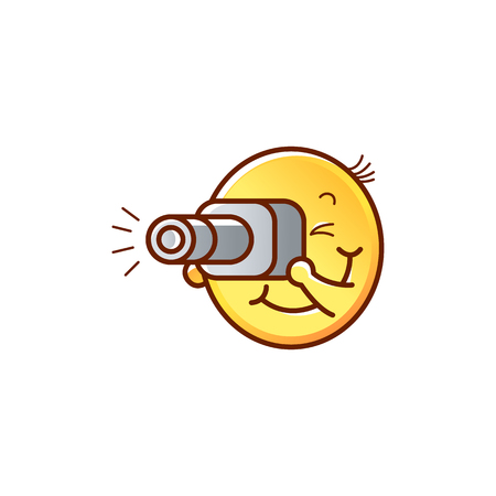 Cute male smiley face or emoticon in sketch style making pictures, shoots using photo camera. Funny emoji on vacation. Summer holiday vector illustration Çizim