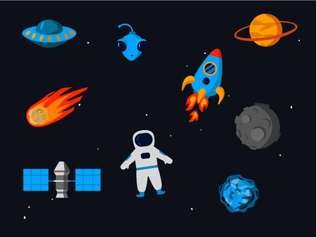 Outer space related objects set isolated on starry sky background - cartoon colorful elements of space exploration such as planets, technologies and aliens, vector illustration.