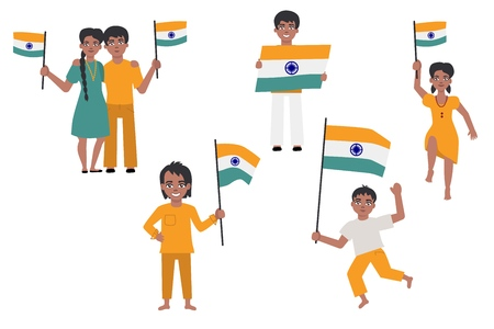 Indian people holding and waving indian flag set isolated on white background. Vector illustration of happy male and female cartoon characters with national tricolor flags.