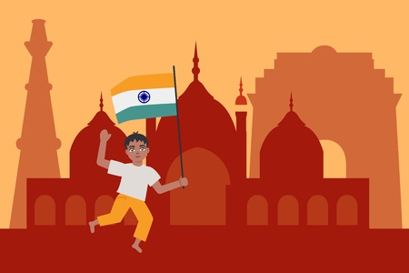 Indian child boy holding and waving national tricolor flag happily runs against India sights background. Vector illustration with cartoon smiling male kid and republic identity.
