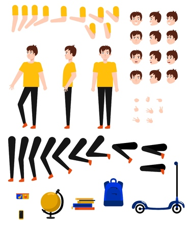 Student boy creation kit with school supplies and various body parts, face emotions and hand gestures - isolated flat vector illustration of teen male caucasian character of school age.