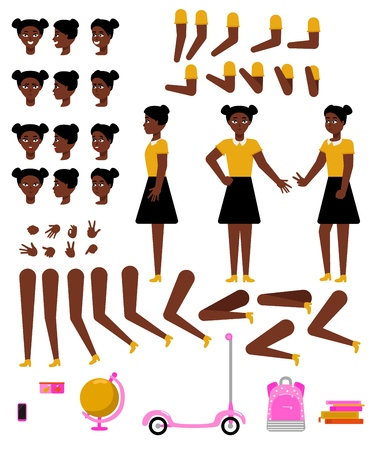 Student girl creation kit with school supplies and various body parts, face emotions and hand gestures - isolated flat vector illustration of teen african female character of school age.