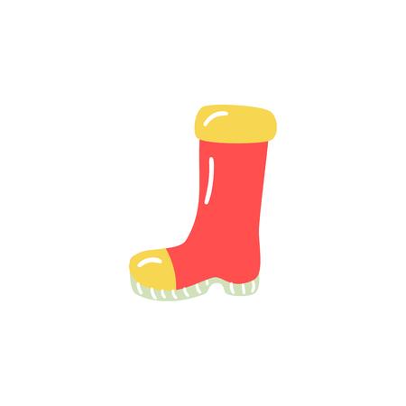 Rubber boot in red and yellow colors for rainy weather walking or farm agricultural works isolated on white background. Seasonal waterproof shoe gumboot in cartoon vector illustration. Illustration