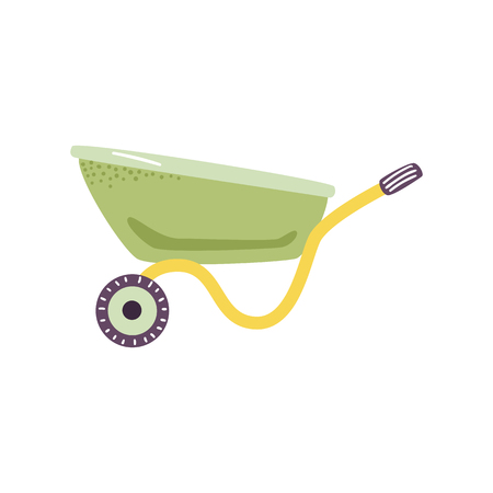Empty green wheelbarrow cart in flat style - cute symbol of farm gardening tool for carriage of cargoes isolated on white background. Vector illustration of handle agricultural equipment. Illustration